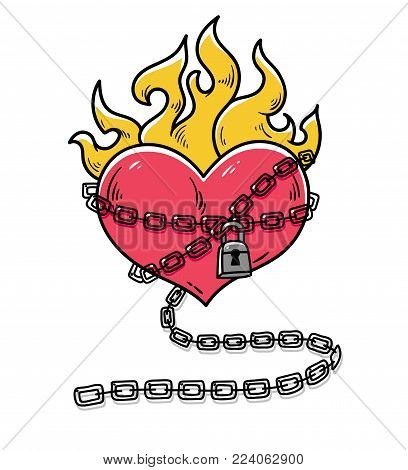 Flaming Heart Tattoo. Heart in chains of love. Passionate love. Red burning heart. Heart in chains with lock. Old school styled