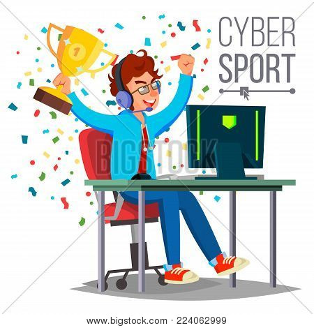 Cyber Sport Player Vector. Sitting At The Table. Cyber Sport Tournament. Competitive MMORPG. Final Match. Game Tactic. Flat Cartoon Illustration