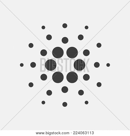 Cardano ADA vector icon isolated on white. Cryptocurrency, e-currency, payment, crypto currency, blockchain sign. Black white logo, flat adaptation design for web site, mobile app, EPS.