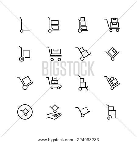 Dolly flat icon set. Single high quality outline symbol of info for web design or mobile app. Thin line signs for design logo, visit card, etc. Outline logo of dolly
