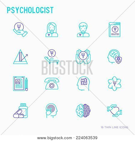 Psychologist thin line icons set: psychiatrist, disease history, armchair, pendulum, antidepressants, psychological support. Vector illustration.
