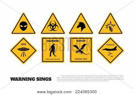 Comic fantasy yellow warning signs. Set of danger stickers and icons. Vector isolated illustration