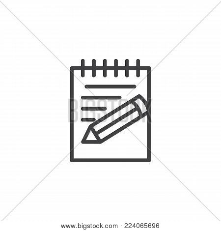 Paper, notebook, notepad pencil line icon, outline vector sign, linear style pictogram isolated on white. Writing notes symbol, logo illustration. Editable stroke