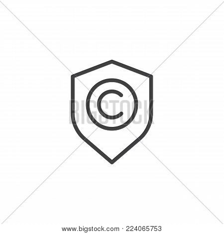 Shield with copyright sign line icon, outline vector sign, linear style pictogram isolated on white. Copyright protection symbol, logo illustration. Editable stroke