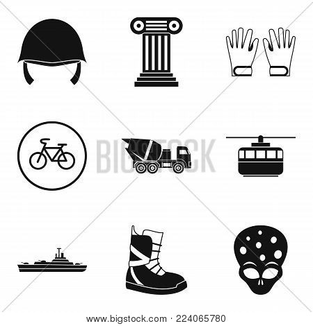 Protective helmet icons set. Simple set of 9 protective helmet vector icons for web isolated on white background