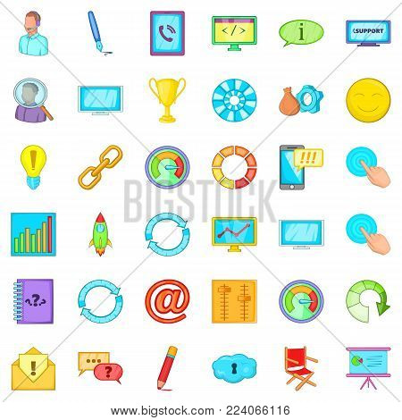 Guiding icons set. Cartoon set of 36 guiding vector icons for web isolated on white background