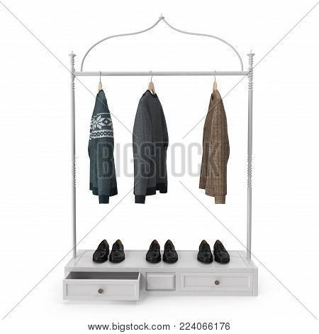Clothing Display Rack with Clothes on white background. 3D illustration