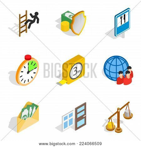 Contribute icons set. Isometric set of 9 contribute vector icons for web isolated on white background