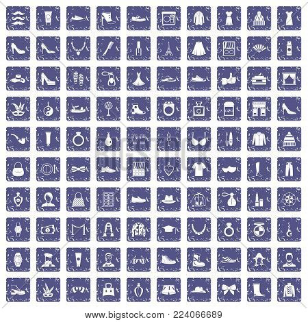 100 vogue icons set in grunge style sapphire color isolated on white background vector illustration