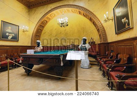 ST. PETERSBURG, RUSSIA - AUGUST 30, 2017: Interior of Turkish study in Yusupov palace used by last owner as billiards room. The palace is acclaimed as the Encyclopedia of aristocratic interior