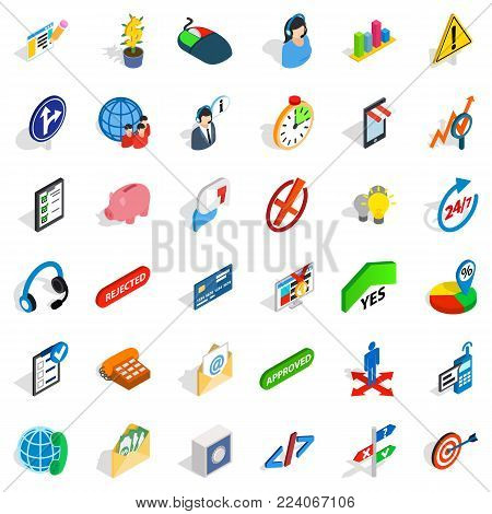 General director icons set. Isometric set of 36 general director vector icons for web isolated on white background
