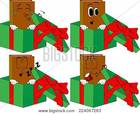 Books in a gift box. Cartoon book collection with various faces. Expressions vector set.