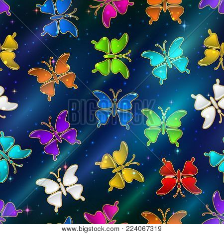 Seamless Holiday Background with Colorful Magic Butterflies, Tile Pattern for Your Design. Eps10, Contains Transparencies. Vector