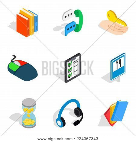 Technical support service icons set. Isometric set of 9 technical support service vector icons for web isolated on white background