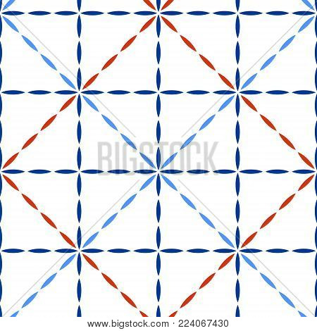 Blue red and white quilted fabric geometric stitches seamless pattern, vector background
