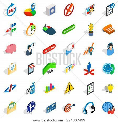 Executive officer icons set. Isometric set of 36 executive officer vector icons for web isolated on white background