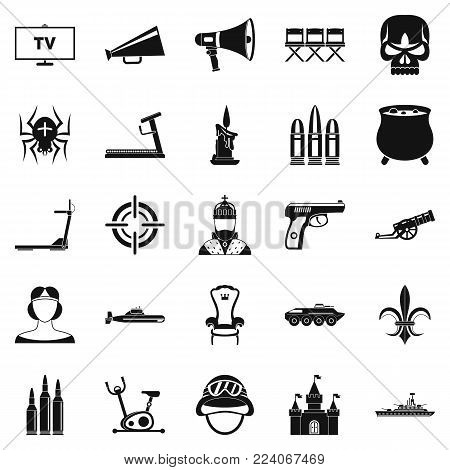 Training actor icons set. Simple set of 25 training actor vector icons for web isolated on white background