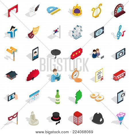 Etiquette icons set. Isometric set of 36 etiquette vector icons for web isolated on white background