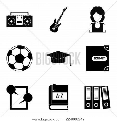 Hi school icons set. Simple set of 9 hi school vector icons for web isolated on white background