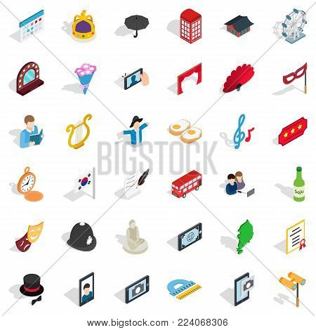 Ceremonial icons set. Isometric set of 36 ceremonial vector icons for web isolated on white background