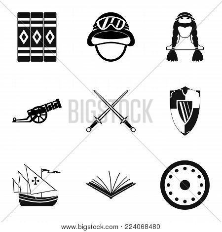 Historical fact icons set. Simple set of 9 historical fact vector icons for web isolated on white background