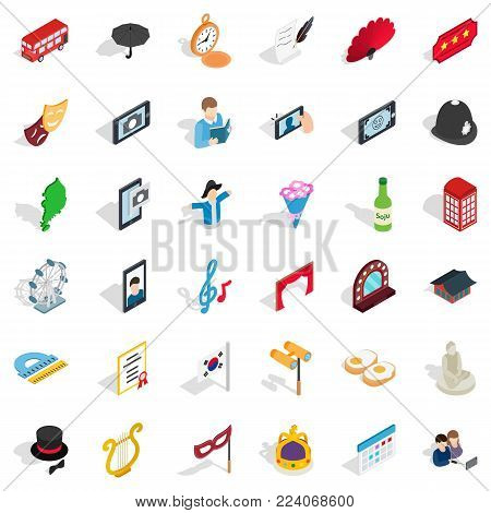 Parade icons set. Isometric set of 36 parade vector icons for web isolated on white background