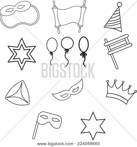 The set of objects for the Jewish holiday Purim ball mask carnival, Patty, ratchet, Jewish star, a scroll, a crown and a fancy hat