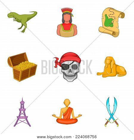 Epoch icons set. Cartoon set of 9 epoch vector icons for web isolated on white background