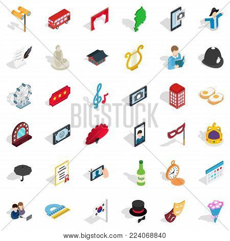 Good manners icons set. Isometric set of 36 good manners vector icons for web isolated on white background