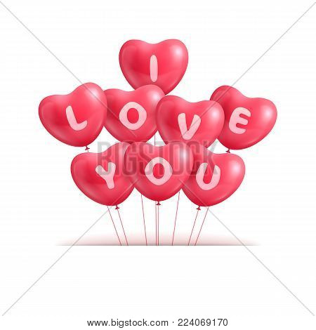 Hearts ballon realistic Valentine. Declaration I love you hearts balloons isolated. Declaration text I love you in the form of hearts from balls. Surprise in the form of a vector illustration