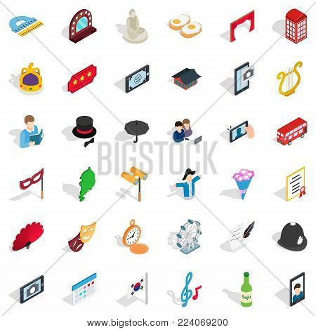 Manners icons set. Isometric set of 36 manners vector icons for web isolated on white background