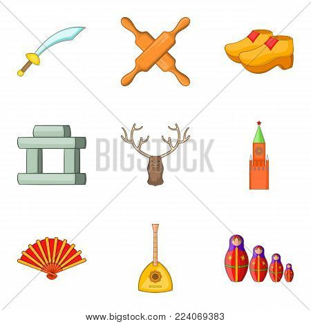 Historical museum icons set. Cartoon set of 9 historical museum vector icons for web isolated on white background