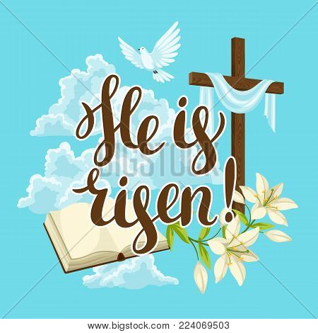 Silhouette of wooden cross with bible, lily and dove. Happy Easter concept illustration or greeting card. Religious symbols of faith against clouds.