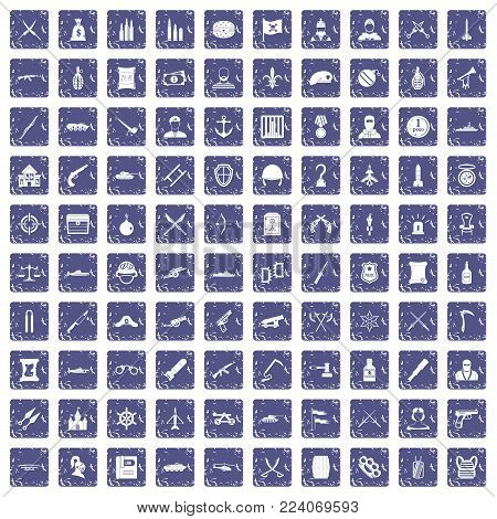 100 weapons icons set in grunge style sapphire color isolated on white background vector illustration