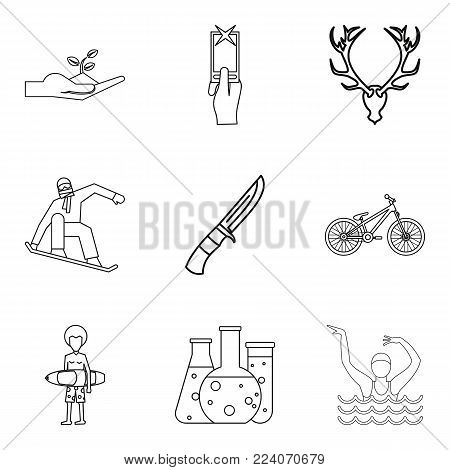 Hobbyist icons set. Outline set of 9 hobbyist vector icons for web isolated on white background
