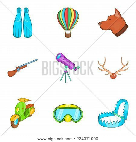 Beach hobby icons set. Cartoon set of 9 beach hobby vector icons for web isolated on white background