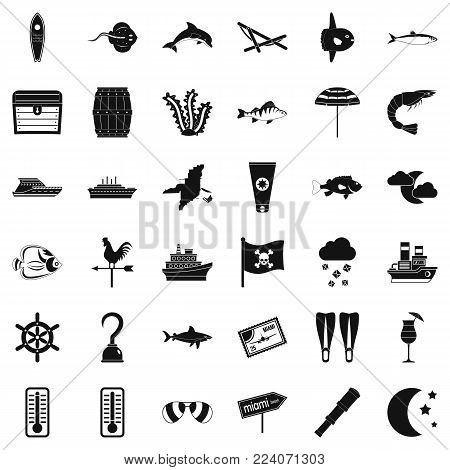 Moisture icons set. Simple set of 36 moisture vector icons for web isolated on white background