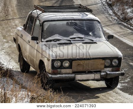 Kazakhstan, Ust-Kamenogorsk, january 28, 2018: Old soviet car Lada 1600. Vaz 2106. Old sedan