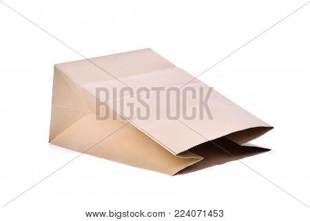 recycle brown paper bag isolated on white background, . packaging template mockup