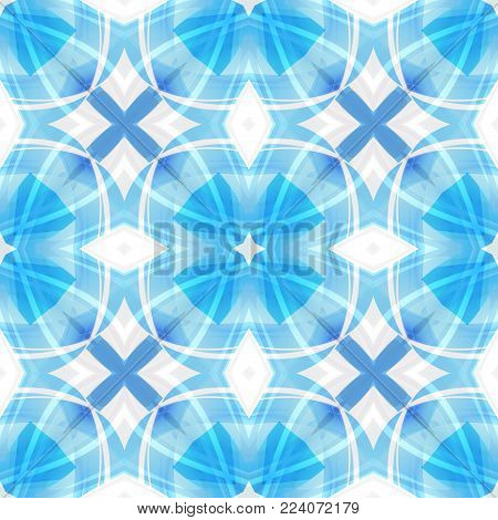 Blue white abstract texture. Simple background illustration. Home decor fabric design sample. Contrast seamless tile. Textile print pattern. Tileable motif for pillows, cushions, bed covers, scarves