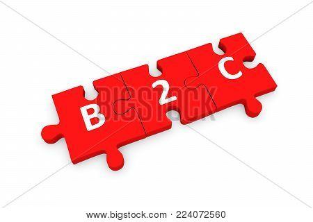 B2C puzzle conceptual white background 3d illustration poster