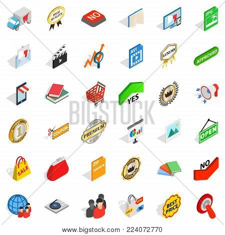 Trademark icons set. Isometric set of 36 trademark vector icons for web isolated on white background