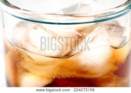 pieces of pure ice in a carbonated drink