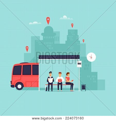 Stop, passengers are waiting for the bus. Flat vector illustration in cartoon style.