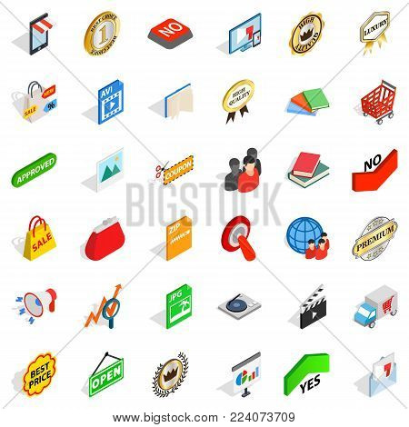 Exchange icons set. Isometric set of 36 exchange vector icons for web isolated on white background