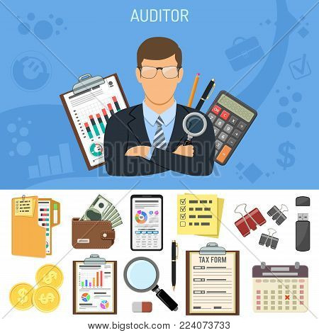 Auditing, Tax, Accounting Concept. Auditor Holds Magnifying Glass in Hand. Flat Style Icons Calculator, Financial Report, Charts, Tax form, Smartphone and Money. Isolated Vector Illustration