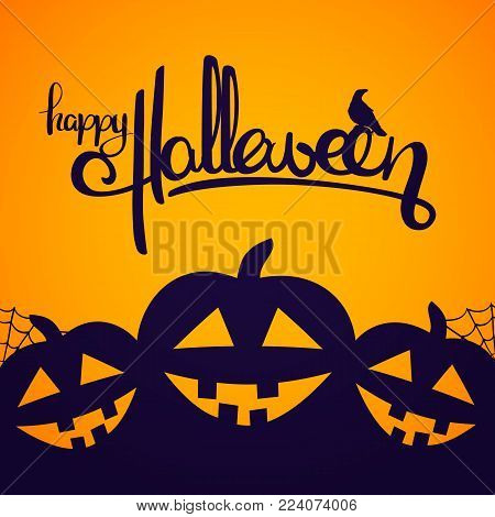 Vector illustration: Background with Handwritten lettering of Happy Halloween with raven and pumpkins.