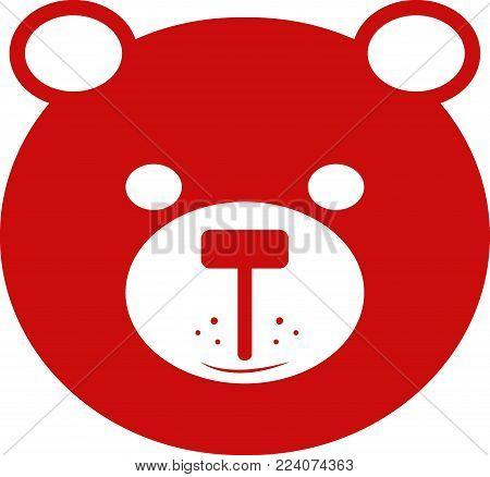 bear icon, bear vector,red bear, lovely bear