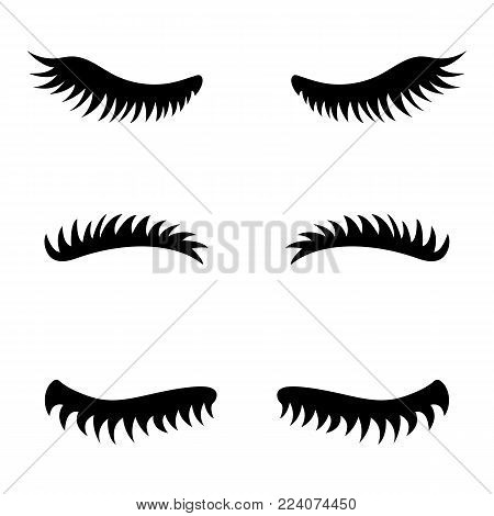 Collection of vector eyelashes. Cute lashes. Illustration on white background.