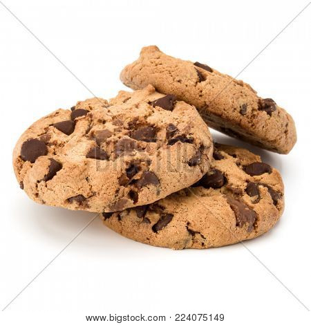 Three Chocolate chip cookies isolated on white background. Sweet biscuits. Homemade pastry.